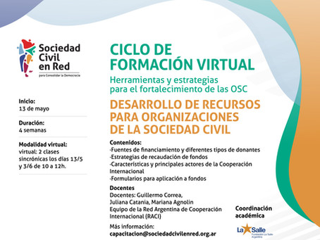Ciclo de formación virtual. Herramientas y estrategias para el fortalecimiento de las OSC