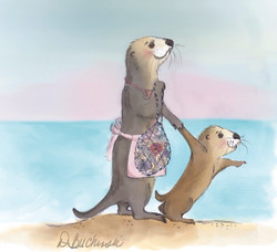 Mama otter and pup