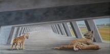 Rewilding, inlaat bij Veessen, 50x100cm,  2020 olieverf