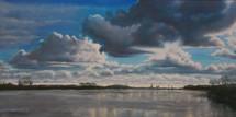 Hoogwater, zicht op Olst, 30x60cm, olieverf 2018
