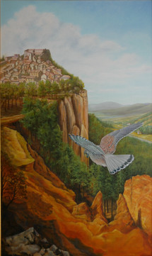Rousillon in vogelvlucht, 60x100cm, 2020 olieverf