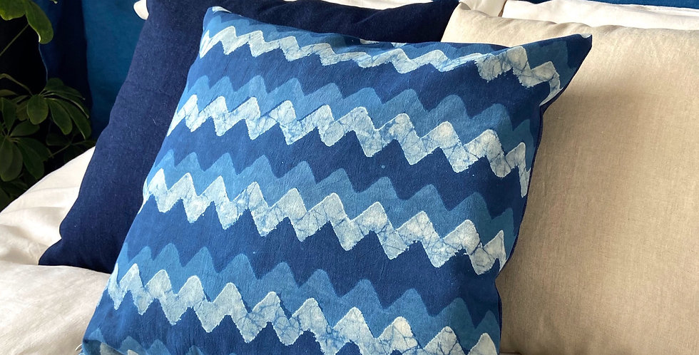 Pillow - Woodblock indigo dyed