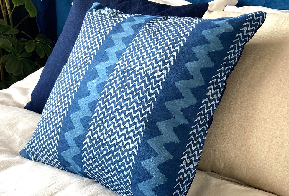 Pillow - indigo woodblock print