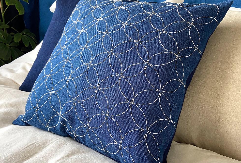 Sashiko pillow - indigo