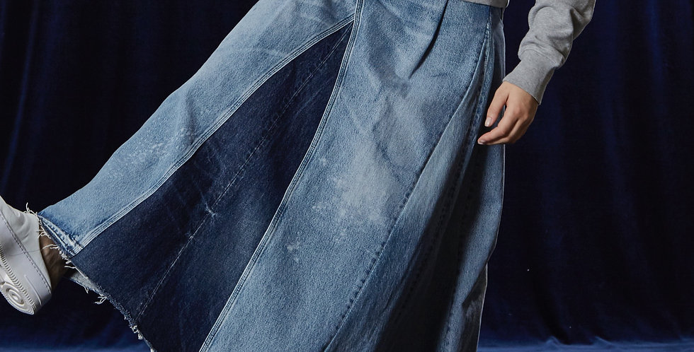 Recycled jeans - Pleated skirt