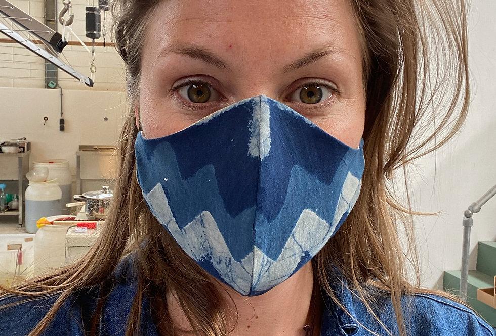 Indigo face mask - woodblock zic zack