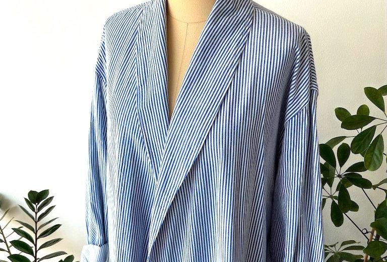 Yarn dyed striped long jacket