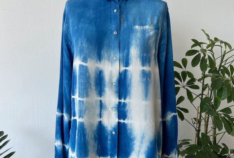 Indigo dyed silk shirt