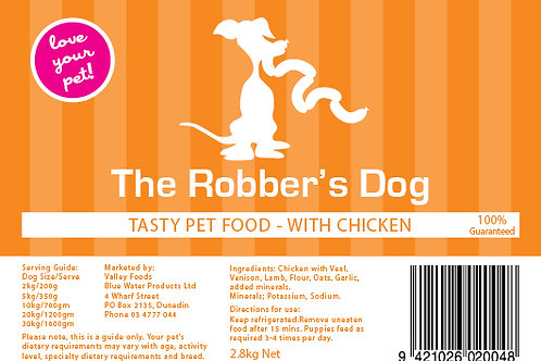 Robbers Dog Chicken Pet Food 3kg aprox
