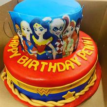 Wonder woman 2 tier cake