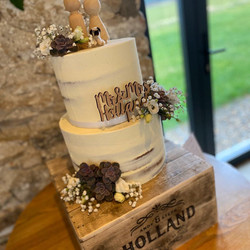 Two Tier Semi Naked with Fresh Flowers