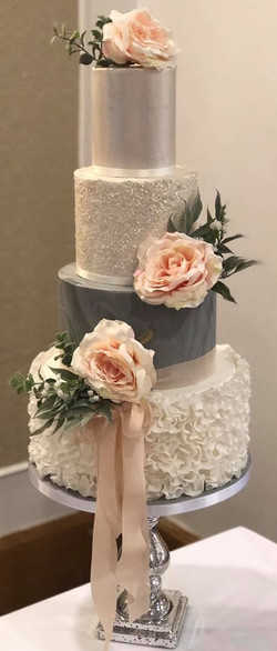 Ruffle and Sparkle Wedding Cake