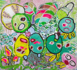 Mixed media on canvas. 120 x 130 cm