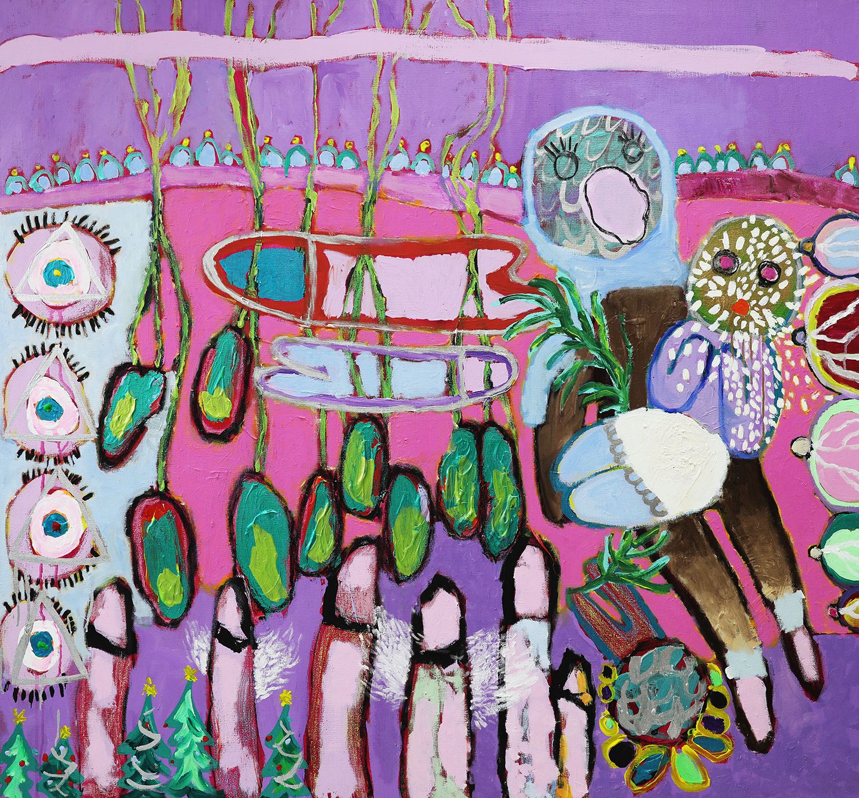 Mixed media on canvas, 120 x 130 cm.