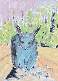 Scary_Blue Bunny, Pink Sky_24%22x18%22