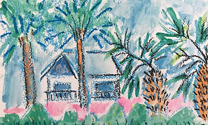 Susan Cary_Beach House W:Palm Trees_8%22