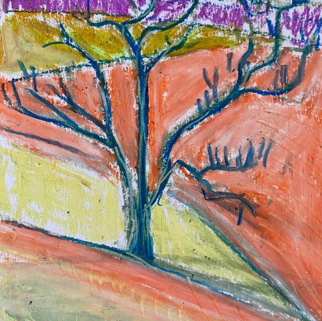 """Walnut Tree -Winter  8""""x6""""oil pastel"""