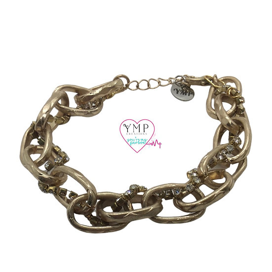 Gold Chain with Rhinestones Bracelet