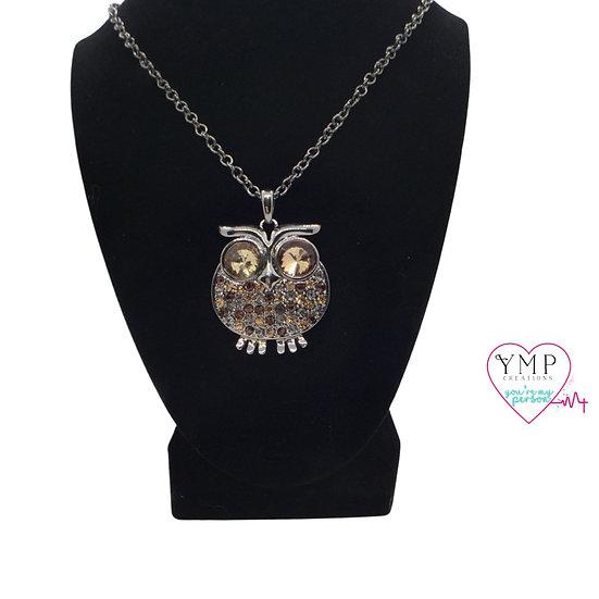 Brown Rhinestone Owl Necklace