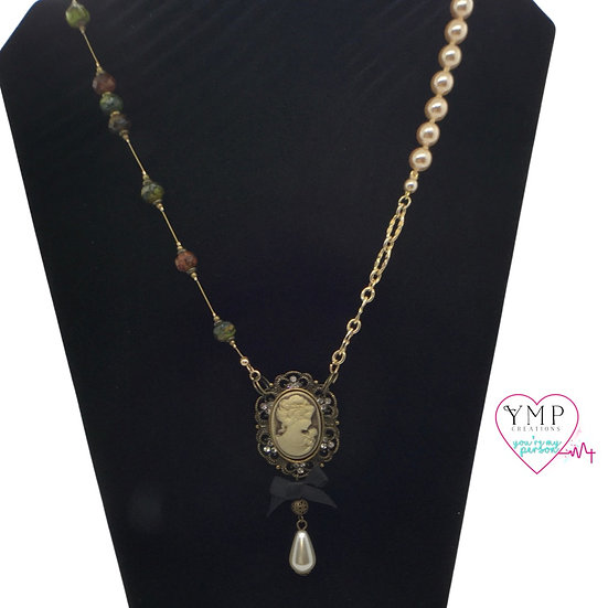Cameo with Pearl Drop Necklace