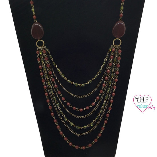 Multi-Chain Necklace-Red Stones