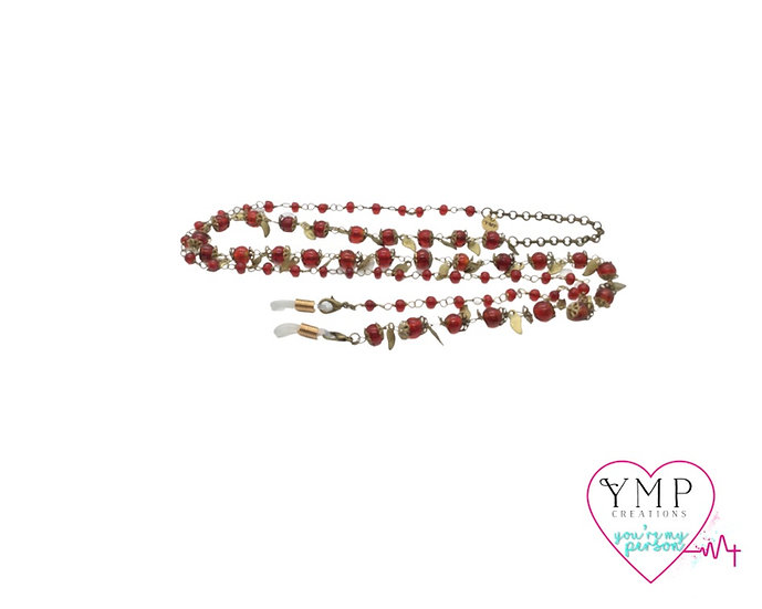 Red Bead Eyeglass Chain