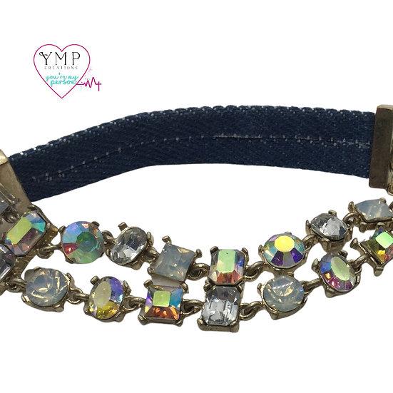 Rhinestone Denim Bracelet