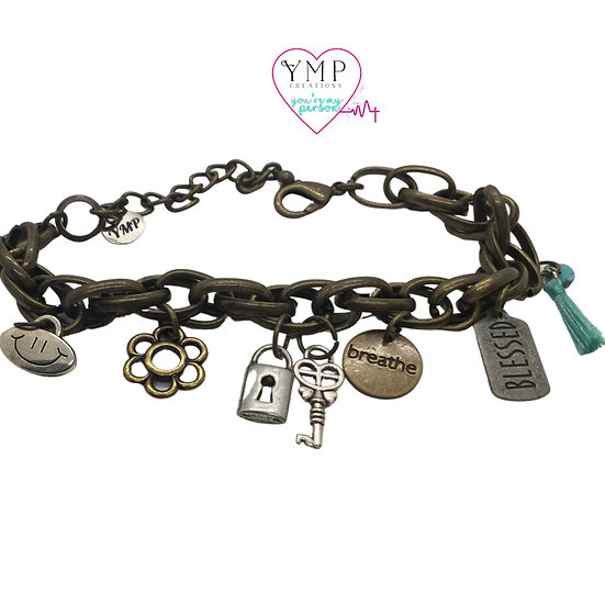 Antiqued Bronze Charm Bracelet