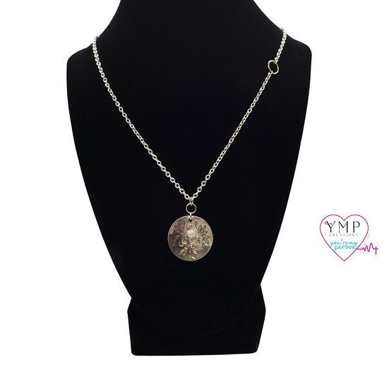 Stamped Flower with Pearl Droplet Necklace