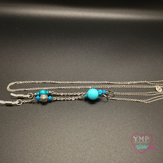 Silver Chain with Blue Beads Eyeglass Chain