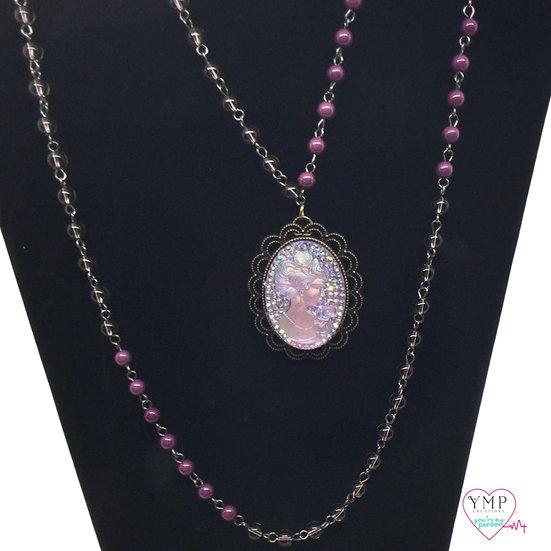 Purple Cameo Necklace
