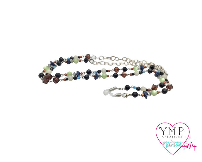 Multi-Colored Stone Eyeglass Chain.