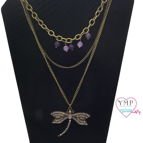 Purple Dragonfly Necklace