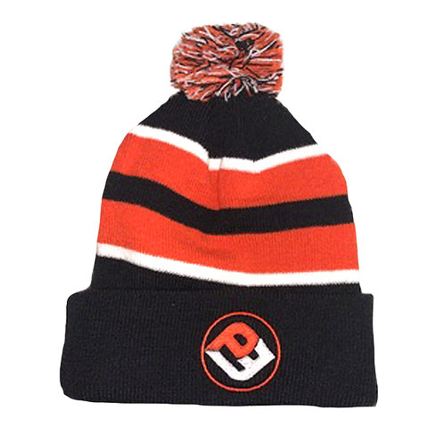 Petersen Media Black, Orange, and White Pom Beanie