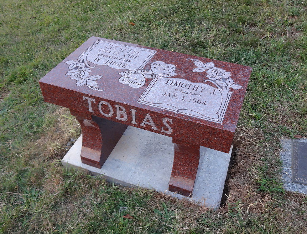 Benches offer families an option for an above ground memorial. Various colors and finishes are available to suit your family needs for honoring the life of your loved one.