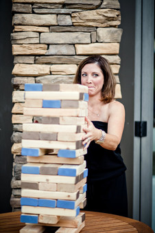 Teena and Jim reception games giant jenga