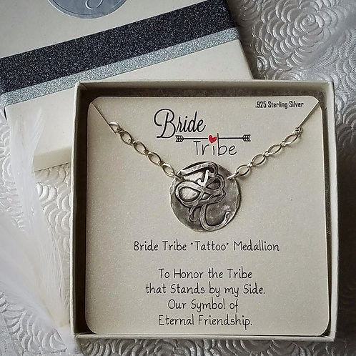 ".925 Sterling Silver BRIDE TRIBE ""Tattoo"" Medallion Necklace"