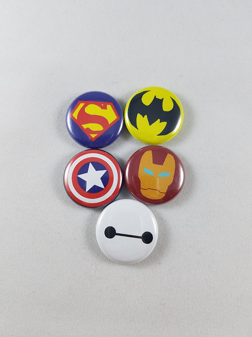 Superheroes Buttons/Magnet Set