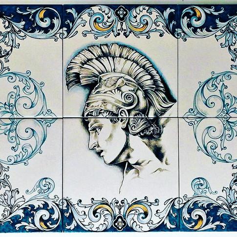 Italian Ceramic tiles Set of 6 Guerriero Ettore