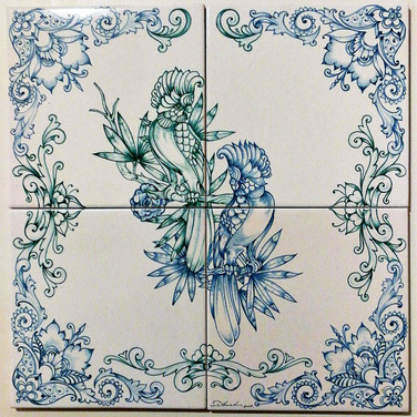 Set of 4 ceramicS tiles