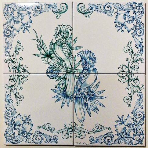 Set of 4 ceramicS tiles
