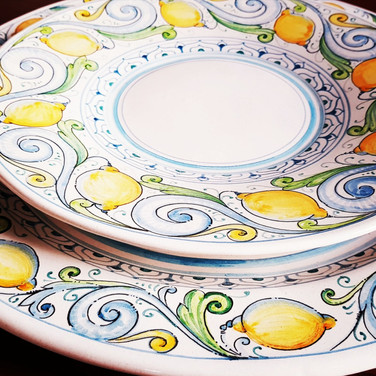 Lemons ceramics plates set of 12 plates