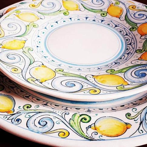 Lemons ceramics plates set of 12 plates