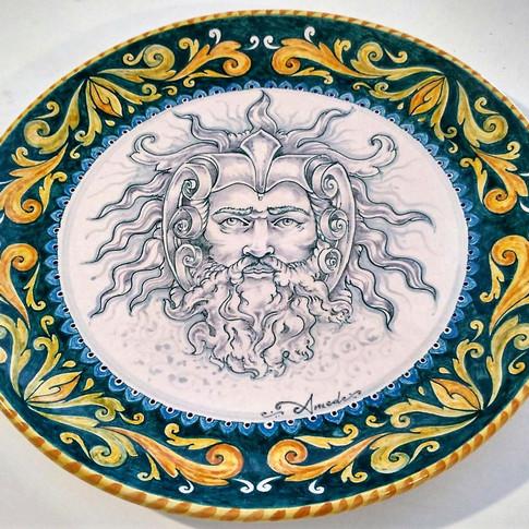 """Italian Ceramic Plate """"Zeus"""" 39cm"""