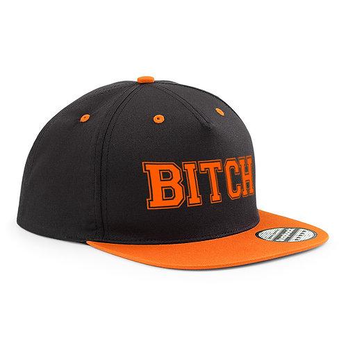 Casquette Snapback WTF « Bitch » noir et orange