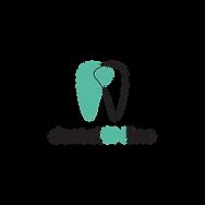 Denta Online logotipas su žaliu ir permatomu dantimis bei juodu užrašu