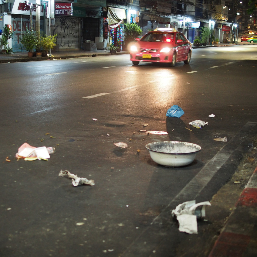 After experiencing Vietnam and Siem Reap, seeing the pollution strewn out throughout Bangkok wasn't so welcoming