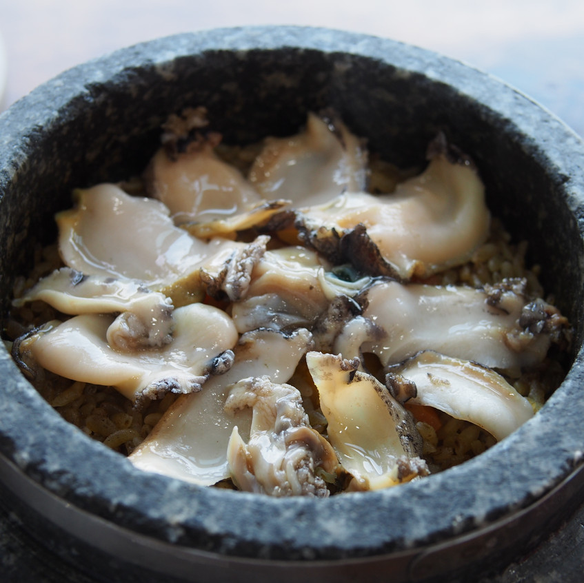 Abalone stone pot rice.