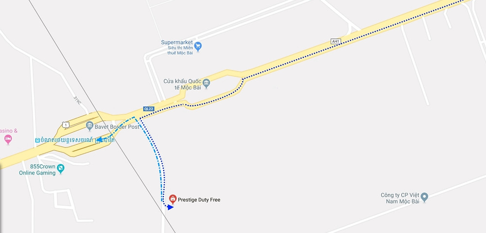 Light blue is the path we walked to get to the border crossing (pic google maps)