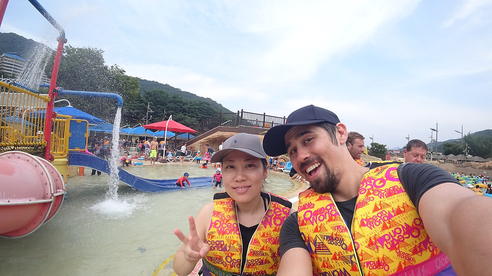 Wearing our baseball caps and lifejackets, hehe.